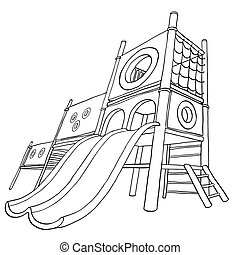 Childrens playground at public park or in the yard. Coloring book. Vector illustration. Isolated on white background.