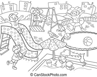 Childrens playground coloring. Vector illustration of black...