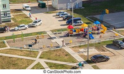 Children's playground in the summer