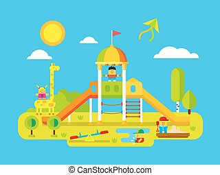 Childrens playground. Play kid on yard, happy child, giraffe...