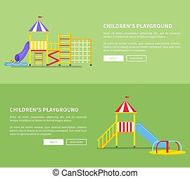 Childrens Playground Set of Posters with Slides