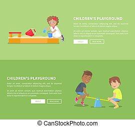 Childrens Playground Set with Sandbox and Kids