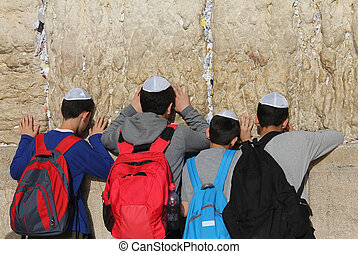 Children's prayer at the Wailing wall (Western wall), Jerusalem, Israel.