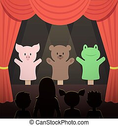 Childrens puppet theater performance with animals actors and kids audience vector illustration