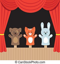 Childrens puppet theater scene with cute animals and red curtain. Cartoon vector illustration