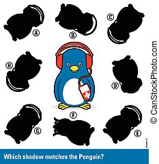 Childrens puzzle - match the shadow to the penguin