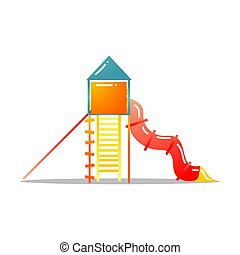 Childrens red tube slide with ladder vector illustration isolated on white background