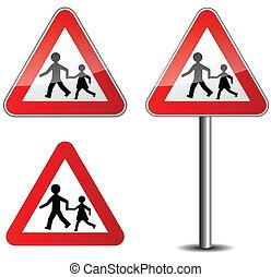 childrens, roadsign