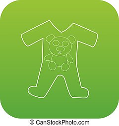 Childrens romper suit icon green vector isolated on white...
