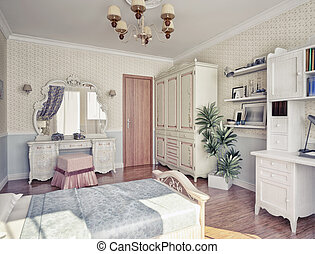 children's  room - children's luxury room interior 3d image