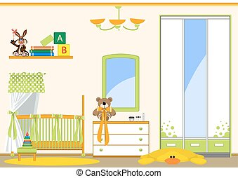 childrens room - Interior childrens room. Toys and various...