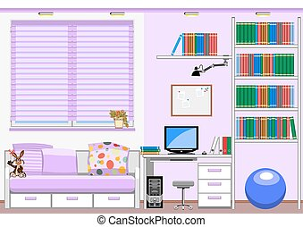 childrens room - Interior childrens room, a desk with...