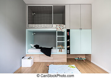Children's room in modern style with loft bed