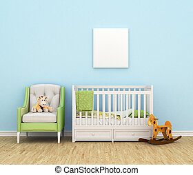 Children's room with a bed, sofa, toys, empty white painting...
