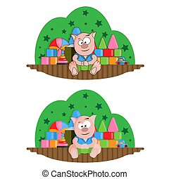 Childrens room with a set of toys and a piglet doll. Full color vector illustration.