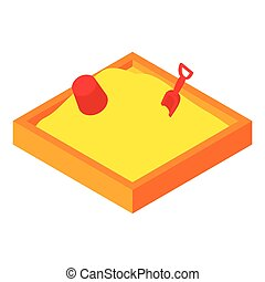 Childrens sandpit icon, cartoon style