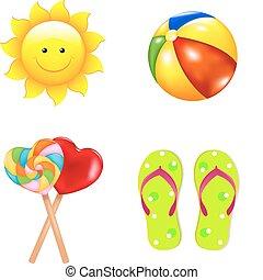 children\'s, set, spiaggia