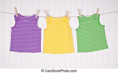Childrens Shirts on a Clothesline