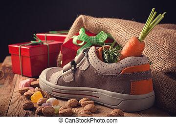 Childrens shoe and pepernoten for Sinterklaas - 'Schoentje...