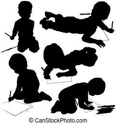 Childrens Silhouettes 03 - baby painter illustrations