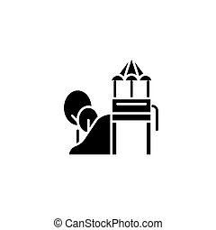 Children's slide black icon concept. Children's slide flat vector symbol, sign, illustration.