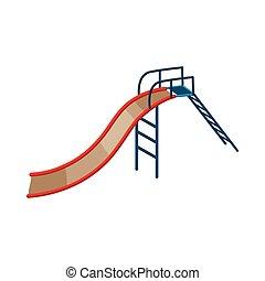 Childrens slide icon, cartoon style