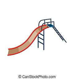 Childrens slide icon, cartoon style