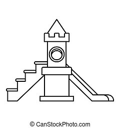 Childrens slide playground icon, outline style