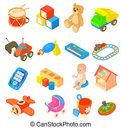 childrens, speelgoed, iconen, set, plat, stijl
