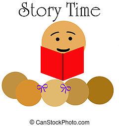 children\'s story time - school teacher reading to children...
