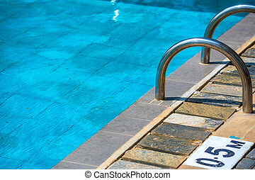 Children's swimming pool with sunny reflections - Detail of...