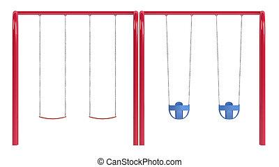 Childrens swings on tubular frame - Childrens swings on a ...