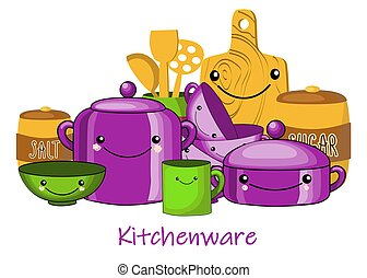 Children's tableware set. Isolated objects on white background. Vector