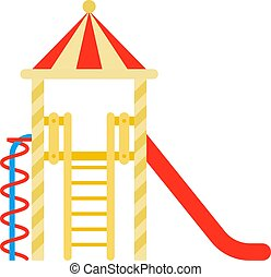 Children's town with a slide vector icon flat isolated