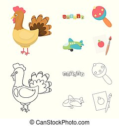 Children's toy cartoon,outline icons in set collection for...