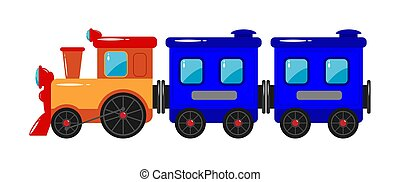 Children's toy. Children's train with a locomotive and trailers.