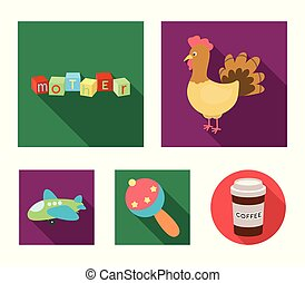 Children's toy flat icons in set collection for design. Game...