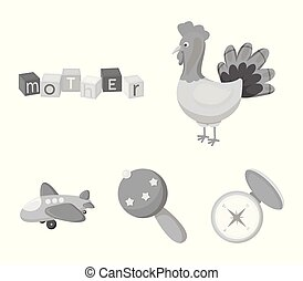 Children's toy monochrome icons in set collection for...