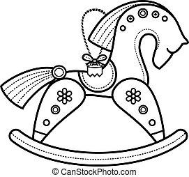 Rocking wooden horse.