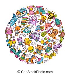 Childrens toys icon set in circle shape. Doodle vector illustrations