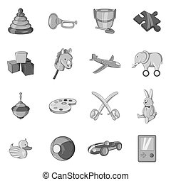 Childrens toys icons set, black monochrome style