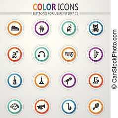 Children's toys icons set