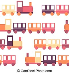 Children's Train Seamless Pattern Vector Illustration