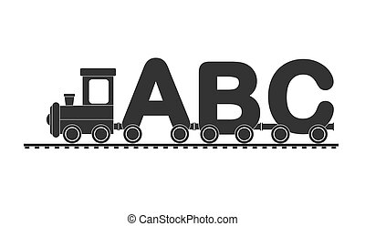 Children's train with a locomotive and cars of letters -...