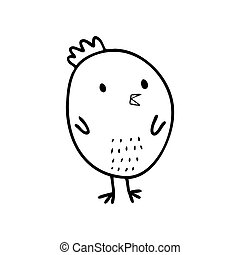 Childrens vector Doodle illustration of a chicken.
