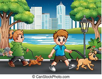 Childrens walking with their pets on the street