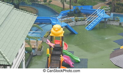 Children's water slides and mini-water park in the hotel...