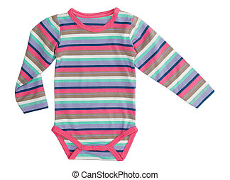 Striped jumpsuit baby clothes. Isolate on white.