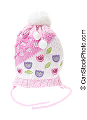 Children's winter hat isolated on white background
