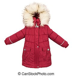 Childrens Women winter jacket isolated on white background.